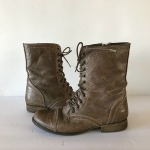 Steve Madden Troopa Gray Leather Combat Boots 8M
